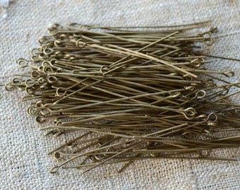 100pcs 2 Inches Eyepins Antiqued Gold-Plated Brass 21 Gauge