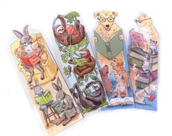 Set of 4 Reading Animals Laminated Bookmarks of Rabbit Sloth Dog and Cat Reading