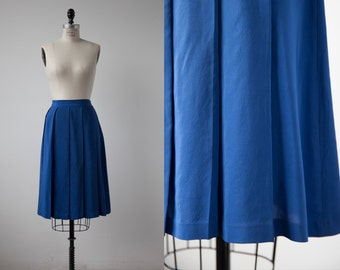 Vintage Blue SILK Pleated Knee Length High Waist Skirt S-M