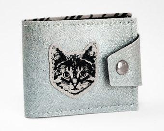 Silver Cat Billfold Wallet