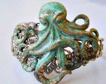 Steampunk Verdigris Octopus Cuff Bracelet, Verdigris Octopus, Octopus Bracelet, Brass Octopus