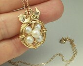 ON SALE Baby Shower Jewelry, Gold Bird Nest Pendant, Custom Initials, Silver Option, Gift for Mothers or Sisters, Nest Necklace, Pearl Eggs