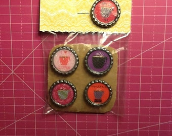 Coffee Bottlecap Magnets, 4