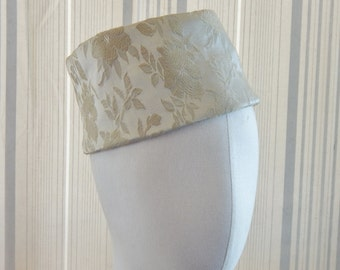 Vintage Hat Brocade Soft Pillbox Ivory w Pumpkin Lining 60's Mid Century Fashion Headwear Millinery