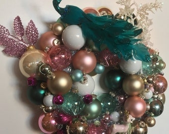 Pink and Turquoise Winter Wonderland Handmade Christmas Ball Ornament Wreath Free shipping in Continental U.S.