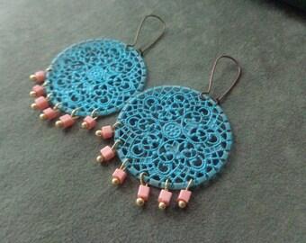 Turquoise round Gypsy earrings Copper earrings filigree dangle earrings copper Jewelry pink