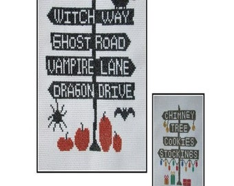 Halloween Cross Stitch PDF E pattern emailed Pattern Sampler Design 167