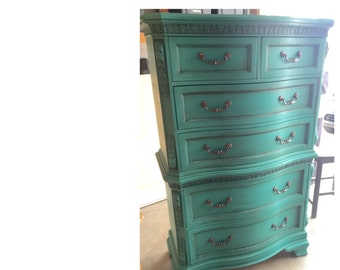 Distressed Teal 6 Drawer Tall Dresser Chest ~ ASCP Florence  - San Diego
