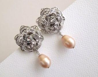 champagne swarovski pearl Bridal Earrings Rhinestone Wedding Earrings Chandeliers Earrings swarovski crystal teardrop earrings ROSELANI