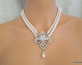 Pearl Necklace,Pearl Rhinestone Necklace,Ivory or White Pearls,Statement Bridal Necklace,Bridal Rhinestone Necklace,Bridal Jewelry,TAYLOR