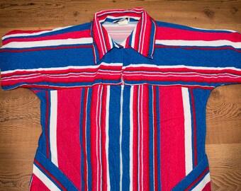 Plaza 9 Beach Dress, Blue & Pink Stripes, Acetate/Nylon, Made in USA, Vintage 70s