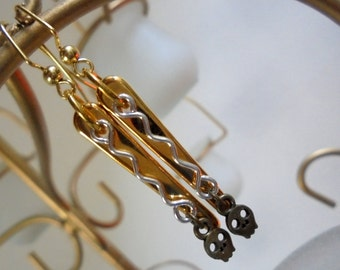 Gold, Silver and Brass Spike and Skull Earrings (2973)