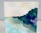 Abstract Landscape 6x6 Canvas   Original Acrylic painting    Fine Art Modern Shelf Art   Green Blue Lavendar Sage Yellow