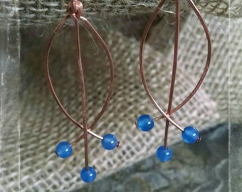 Copper Wire and Blue Agate Fish Earrings