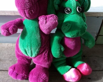 """Barney and Baby Bop vintage plushies Barney the Dinosaur and his best friend Lyons Group 1990's favorite Barney 12"""" tall Baby Bop 13"""""""