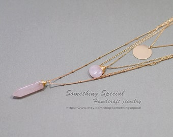 Rose quartz layering necklace Pink quartz necklace Gold plated Multistrand Crystal necklace quartz crystal layered necklace healing jewelry