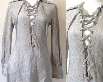 1970s glitter lurex silver tunic / metallic mini dress saharienne