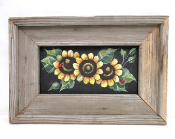 Sunflowers, Framed in Primitive and Rustic Barn Wood, Hand or Tole Painted, Wall Hanging,Reclaimed Barn Wood,Yellow Sunflowers,Red Lady Bugs