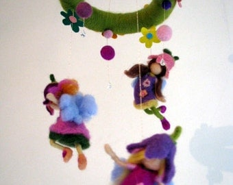 Nursery Mobile Crib decoration Needle felted Waldorf inspired mobile Fairies of  Magic garden