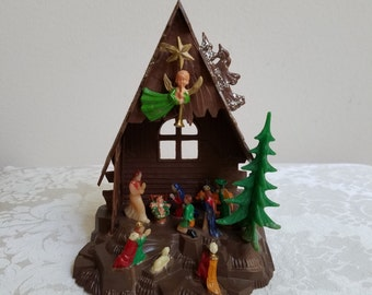"Vintage Nativity Manger Plastic Christmas Decoration 5 5/8"" Tall Made in Hong Kong, Mary Jesus Joseph Three Kings Angel Star, Retro Kitsch"