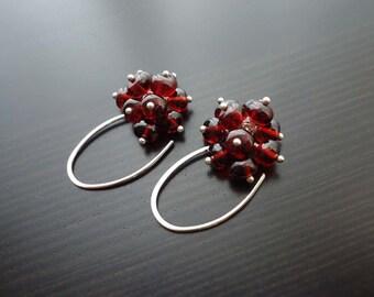 Garnet Earrings, Gemstone Jewelry, Cluster Earrings, January Birthstone, Sterling Silver