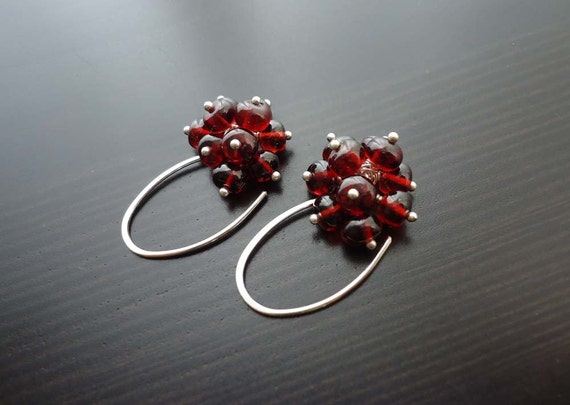 garnet earrings gemstone jewelry cluster earrings january