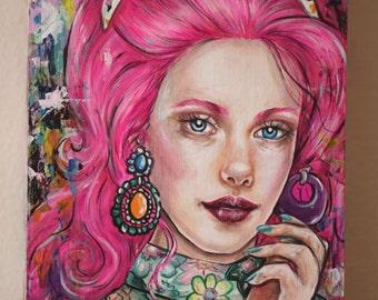 Flamingo Pink - Original Acrylic Art Painting 5x7 Illustration Retro Barbie Woman Pink Hair Pink Hair New Contemporary Lowbrow 1970s