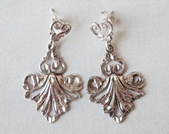 Silver Bridal Earrings, Chandelier Earrings, Vintage Chandeliers, Wedding Jewelry, Vintage Earrings, Sterling Earrings