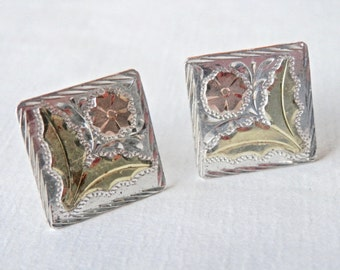 Cuff Links, 18K, Rose Gold, Signed Vintage Mexican, Mens Gifts, 18K Yellow Gold, Sterling Silver, Taxco Mexico