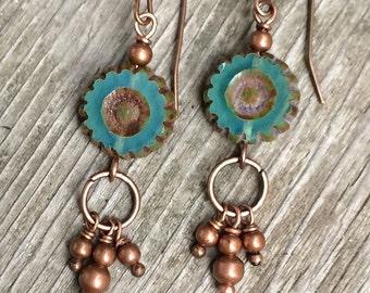 Boho Blue Earrings Dangle, Boho Jewelry Earrings, Copper Dangle Earrings, Blue Earrings, Blue Jewelry, Gypsy Jewelry Earrings