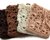 Crochet Soap Saver with a Drawstring - 100% Cotton in Cream, Tan, Brown or Dark Brown