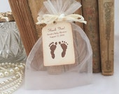 Baby Shower Favor Kit DIY (Do It Yourself) Organza Bags, Personalized Tags Neutral Footprints