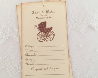 Advice and Wishes Tags Baby Shower Tree Tags Carriage Mommy to Be