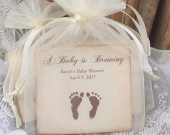 Baby Favors Footprint Favors Tea Baby Shower Boy or Girl Baby is Brewing Set of 10