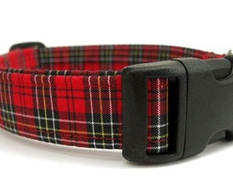 Red and Black Plaid Dog Collar - Wallace Plaid