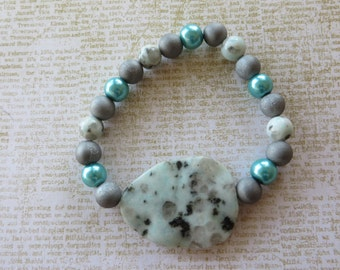 Sesame Jasper Silver Druzy And Glass Pearl Stretch Bracelet