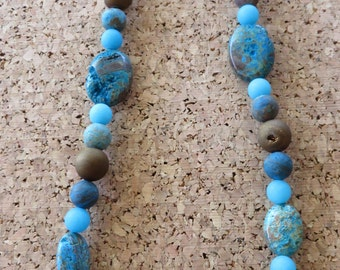 Blue Crazy Lace Agate And Bronze Druzy Agate Beaded Necklace