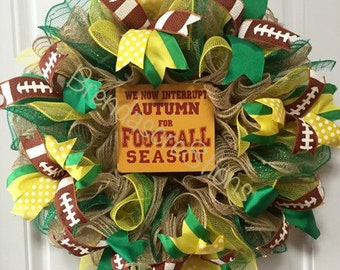 Football Decorations, Foot Ball Wreath, Oregon Ducks, Green Bay Packers,  FootBall Sign, Autumn Decor, Fall Decorations, Football Season