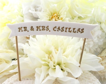 Wedding Cake Banner - YOUR NAMES or Custom Phrase, White and Gold