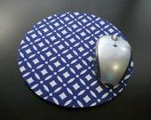 "Navy Mouse Pad, Geometric Mousepad, Computer Mouse Pad, Mouse Mat, Navy Geometric Circles, 1/4"" Thick Circle Mousepad, Office Deco"