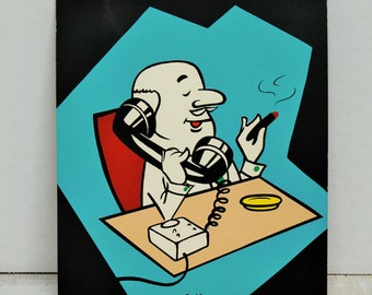 Vintage 1960's Advertising, Comic, Art, Presentation Materials, Man on Telephone Blue