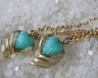 sweater guard vintage  sweater clip, vintage turquoise heart shape