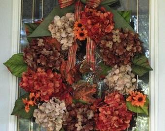 Fall Wreath, Autumn Hydrangeas, Fall Door Wreath, Front Door Wreath, Outdoor Wreath Fall, Hydrangea Wreath