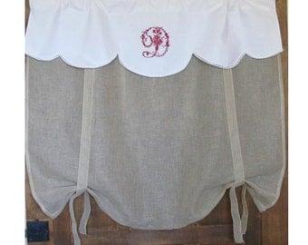 Personalized White Linen Window Valance, Natural Linen Roll up Shade, Monogram Tie Up Shade, Fleur de Lis, Bedroom, Bathroom KItchen