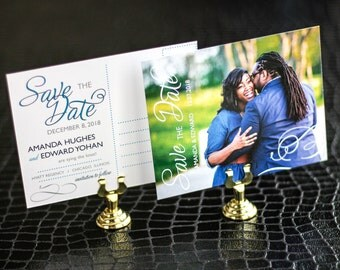 """Engagement Postcard, Modern Wedding Save the Date, Blue and Grey - """"Modern Swirl and Flourish"""" Save the Date Photo Postcard - DEPOSIT"""