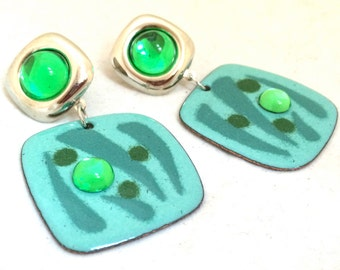 Abstract Bright Green Drop Dangling Earrings True Vintage Jewelry Unique Runway