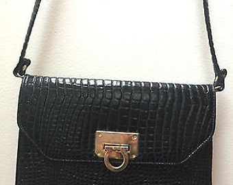 Woolworths Black Croc Patent Leather Bag Shoulder Strap Cross Body Vintage Purse