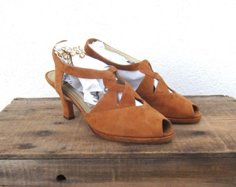 80s does 40s Via Spiga Peep Toe Kitten Heel Suede Slingback Sandals Made in Italy size 7.5