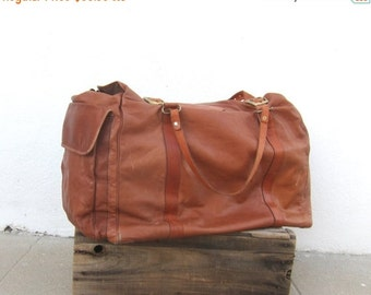 Giant Tote Duffle Distressed Tan Leather Slouchy Travel Bag