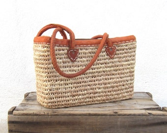 Tote Woven Straw Basket Leather Medium Market Bag